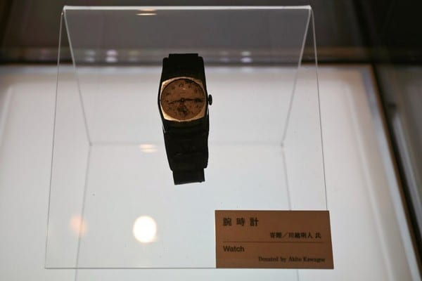 -A watch worn by Akito Kavagove. The clock stopped exactly at 8:15 when the atomic bomb fell on Hiroshima in 1945.