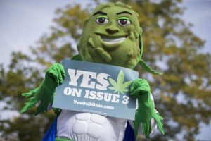 "ResponsibleOhio, which is spearheading the effort to legalize marijuana in Ohio, expects to spend more than $20 million on its campaign that features, besides television spots, a mascot named ""Buddie"" whose head is a marijuana plant bud. PHOTO: JOHN MINCHILLO/ASSOCIATED PRESS"
