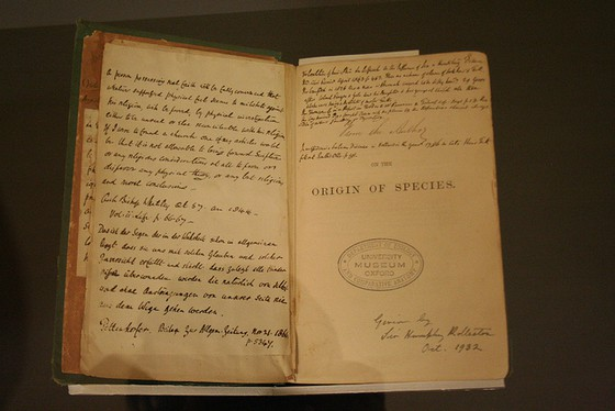 "Image credit: One of the oldest copies of ""On the Origin of Species,"" signed by the author himself. Robin Zebrowski/Flickr (CC BY-NC 2.0)"