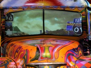 "A hippie ""Magic Bus"" on display at the Museum at Bethel Woods Center for the Arts, a museum built on the site of the 1969 Woodstock music festival."