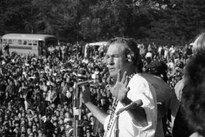 "Leary addresses a crowd of hippies at the ""Human Be-In"" that he helped organize in Golden Gate Park, San Francisco, Calif. in Jan. 14, 1967. (Robert W. Klein/AP)"