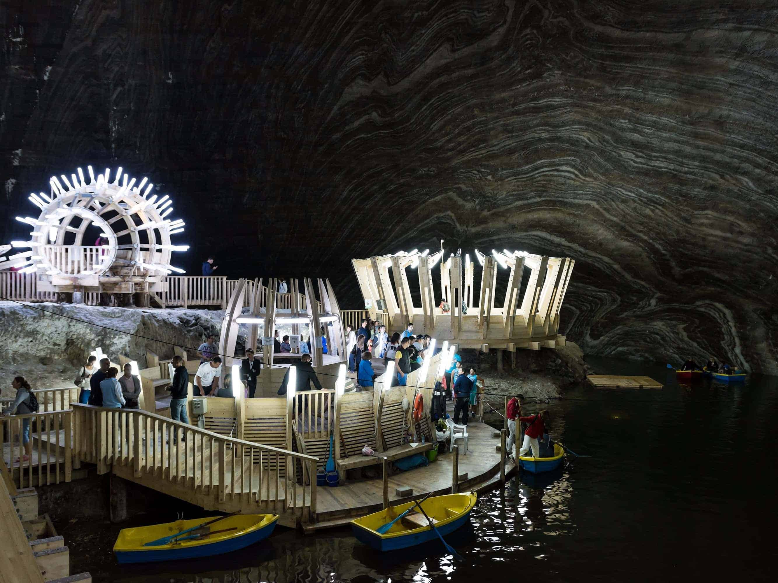 Explore the caverns of the salt mine on your very own paddle boat.