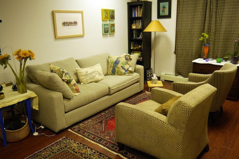 The treatment room for MAPS' study of MDMA-assisted psychotherapy in Boulder, Colorado.