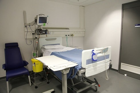 The hospital room before it was transformed.  David Fuller