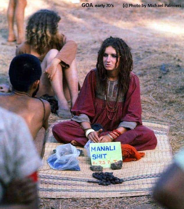 Girl selling Hashish & Charas in Anjuna flea market, early 1970s (Photo by Michael Palmieri).