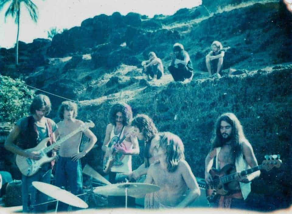 The Anjuna Jam Band – the first electric full moon party on the South end of Anjuna Beach 1976 (Photo by Sunny Schneider).