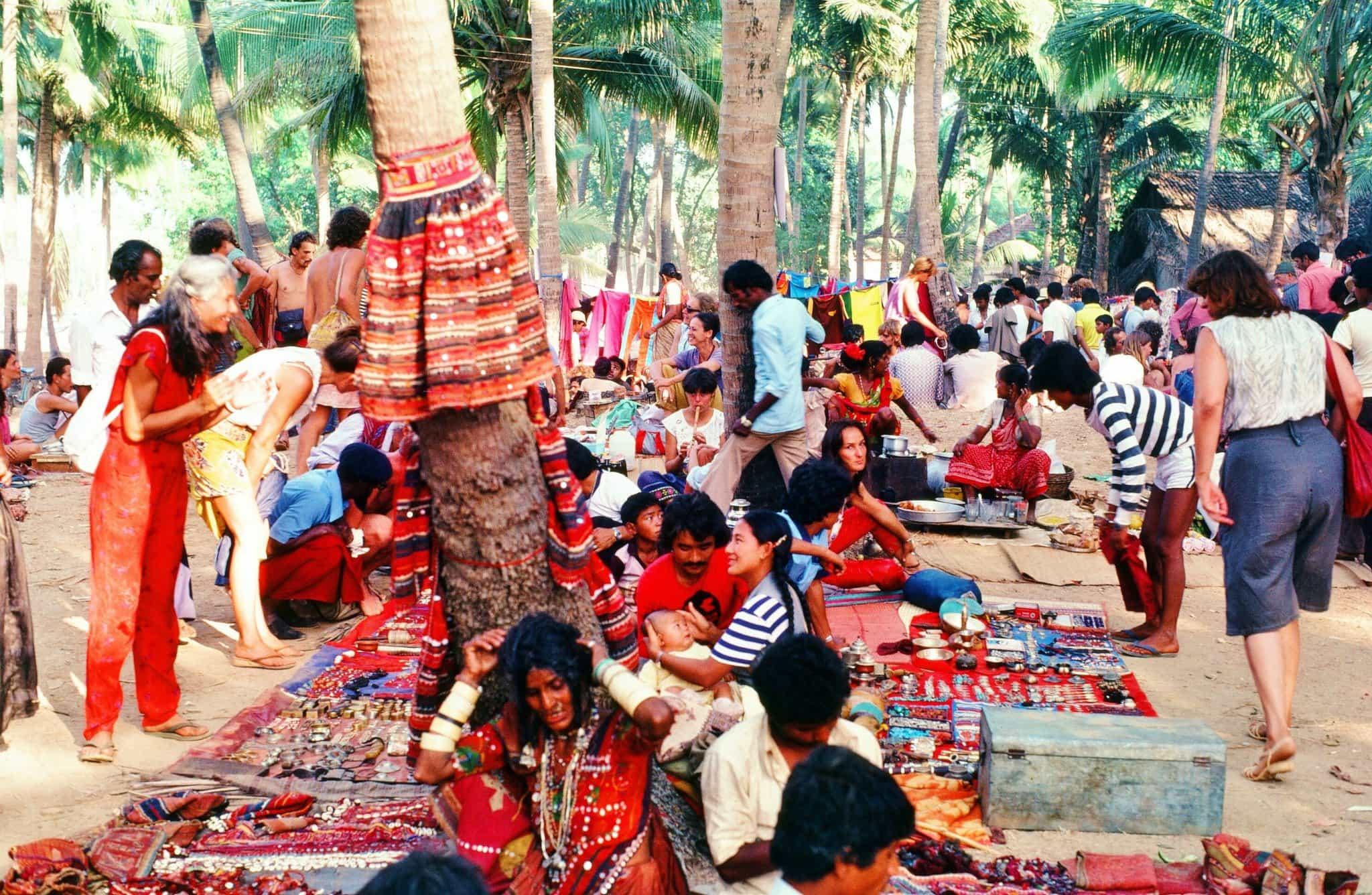 Anjuna flea market, Goa, 1982 (Photo credit unavailable).