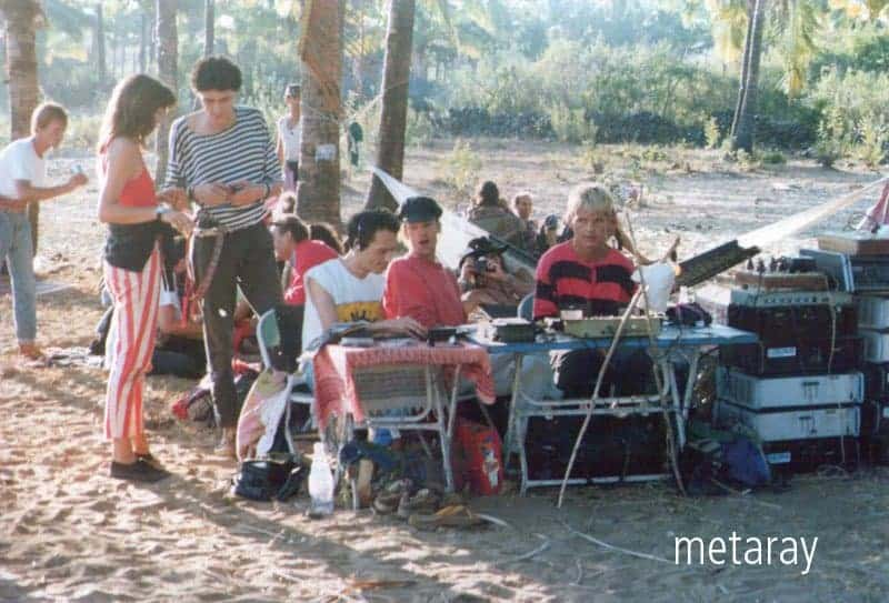 DJing @ Paleolem party, Goa, 1990 – DJ Laurent, Louis & Rolf. No stage, no DJ booth, no star DJs – it's all about the music and the journey. (Photo courtesy of Ray Castle).