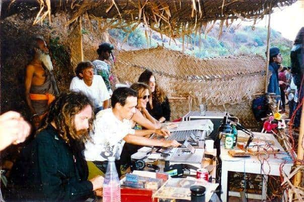 DJing in a party with Cassette Tapes. Early 90s. On the left Goa Gil, next to him DJing the legendary DJ Laurent. (No photo credit available).