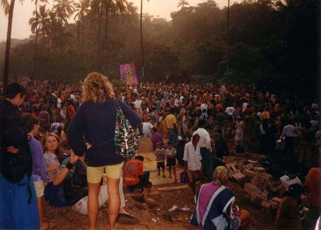 Disco Valley, Goa, March 1st, 1997. DJ Miko (California Sunshine) played the whole party. (Photo by Pietro Nataraja).