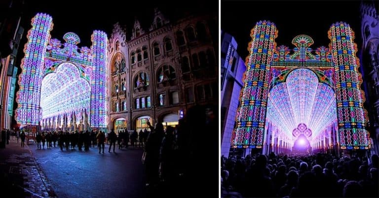Psychedelic Cathedral Made from 55,000 LED Lights in Belgium