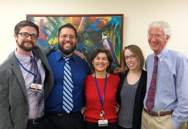 Photo: Some members of the Johns Hopkins University School of Medicine psilocybin research team. From left to right: Matthew W. Johnson, Ph.D., Associate Professor; Albert Garcia-Romeu, Ph.D., Postdoctoral Fellow; Mary P. Cosimano, M.S.W., Guide and Senior Research Program Coordinator; Margaret A. Klinedinst, B.S., Senior Research Program Supervisor; and Roland R. Griffiths, Ph.D., Professor. Photo credit: August F. Holtyn, Ph.D.