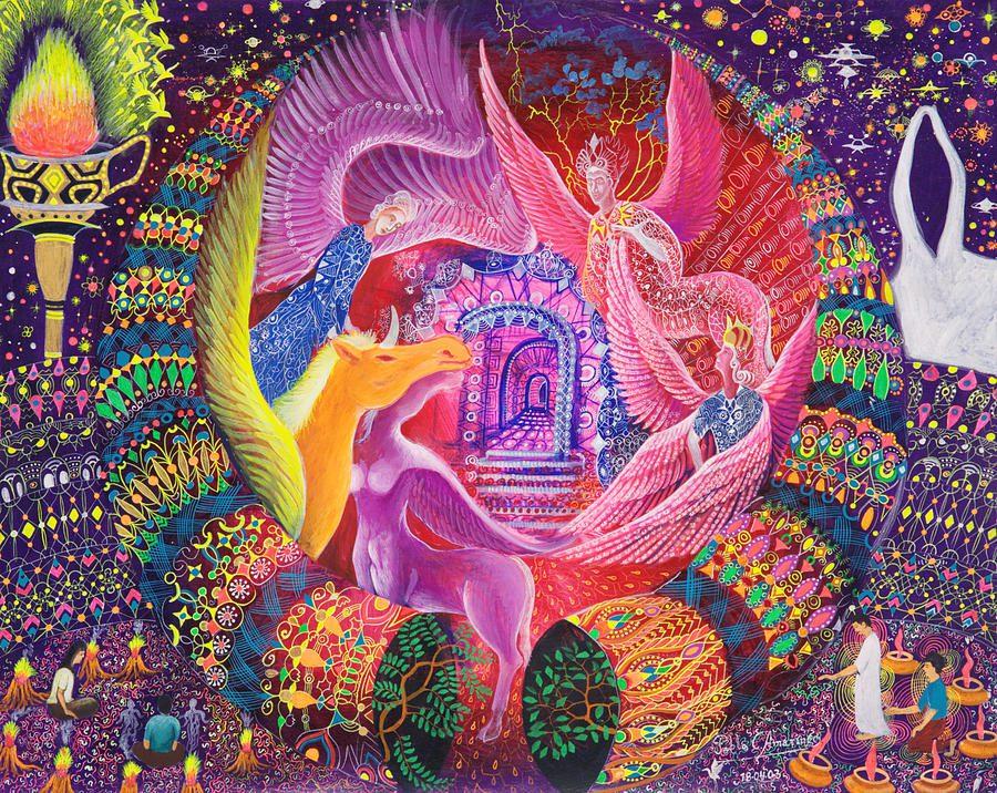 Unicornio Dorado Painting by Pablo Amaringo