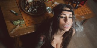 sexy girl smoking weed