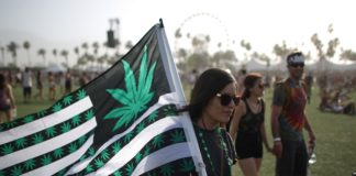 A woman carries a flag bearing marijuana symbols at the Coachella Valley Music & Arts Festival at the Empire Polo Club in Indio, California, April 12, 2014. The annual music festival, which runs for two consecutive three-day weekends, has grown to one of the largest music festival in the U.S. since it was founded in 1999. AFP PHOTO / David McNew (Photo credit should read DAVID MCNEW/AFP/Getty Images)