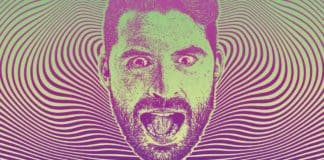 Mans facae with shocked expression and half tone pattern background